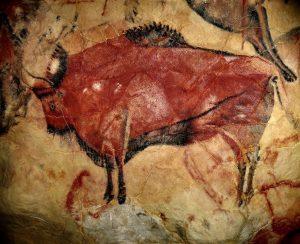 In der Steinzeit haben Menschen Bilder mit den ersten Pinseln gemalt.